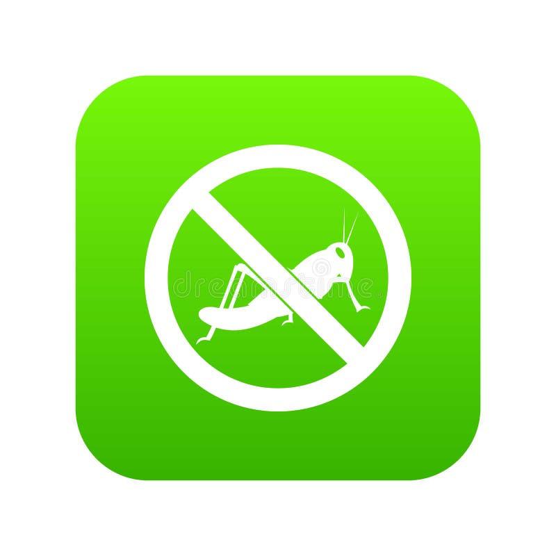 Nessun verde digitale dell'icona del segno della locusta royalty illustrazione gratis