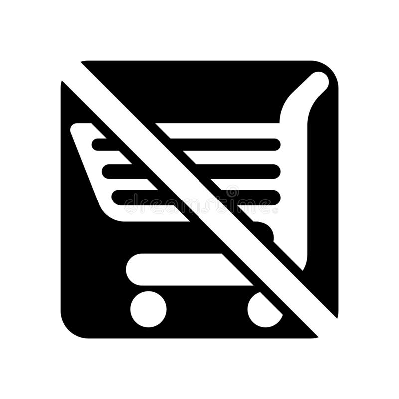 Nessun vettore isolato su fondo bianco, nessun segno dell'icona del carrello del carrello royalty illustrazione gratis