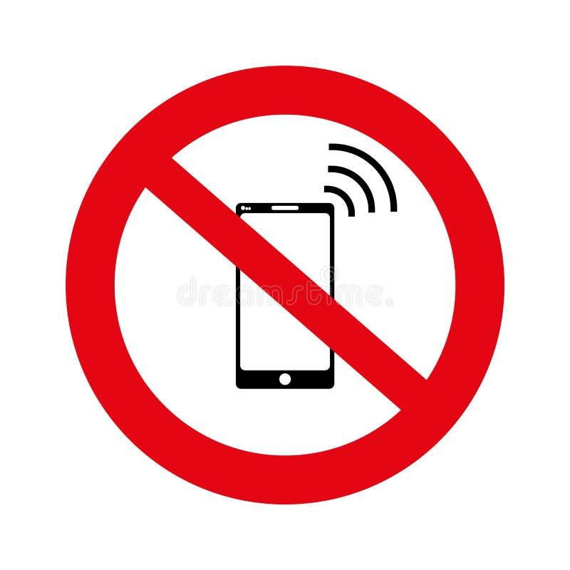 Nessuna cellula, nessun'insegna del segno del telefono cellulare, nessun segno del telefono su fondo bianco, illustrazione, vetto illustrazione di stock