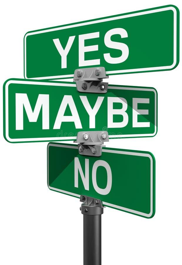 Nessuna forse sì decisione del segnale stradale royalty illustrazione gratis
