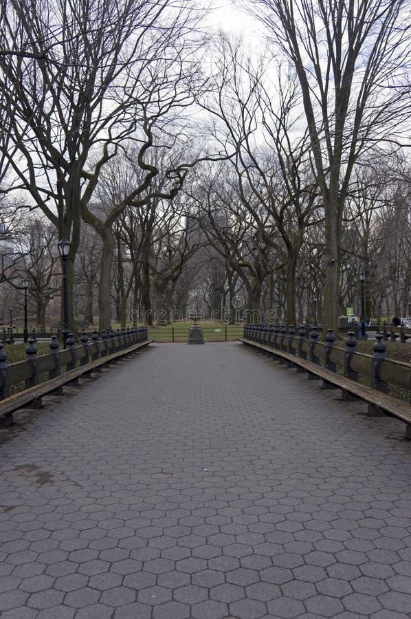 Nessuna gente sul centro commerciale in Central Park New York nell'inverno immagini stock