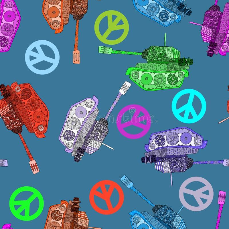 Nessuna guerra, modello senza cuciture fondo di hippy Pace del mondo illustrazione di stock
