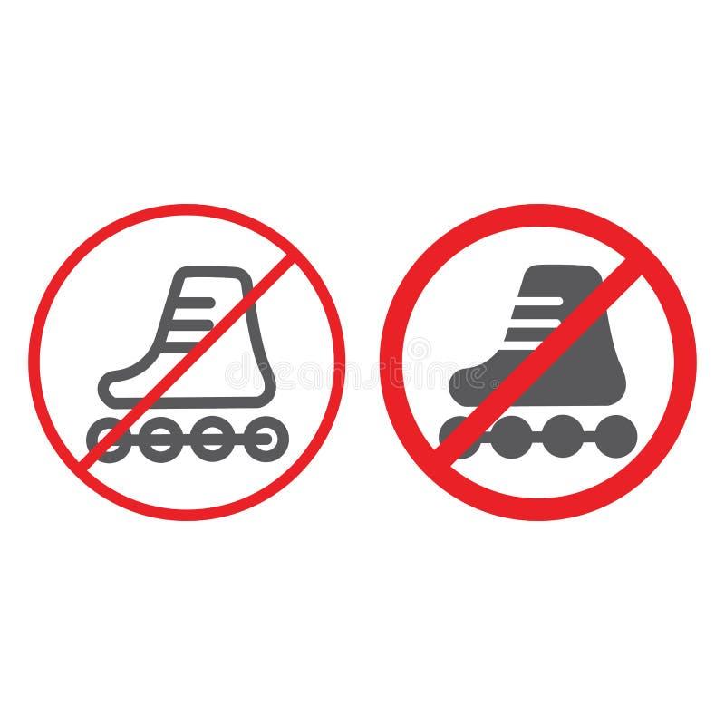 Nessuna linea dei pattini di rullo ed icona di glifo, proibita e regolamento, nessun segno pattinante, grafica vettoriale, un mod royalty illustrazione gratis