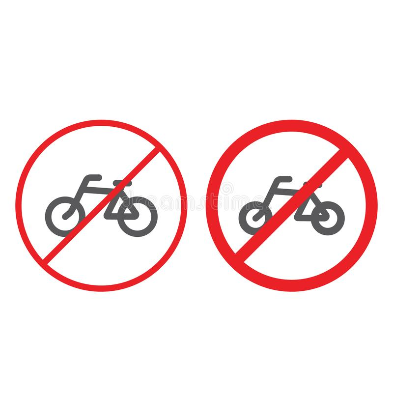 Nessuna linea della bicicletta ed icona di glifo, proibita e regolamento, nessun segno del ciclo, grafica vettoriale, un modello  illustrazione di stock
