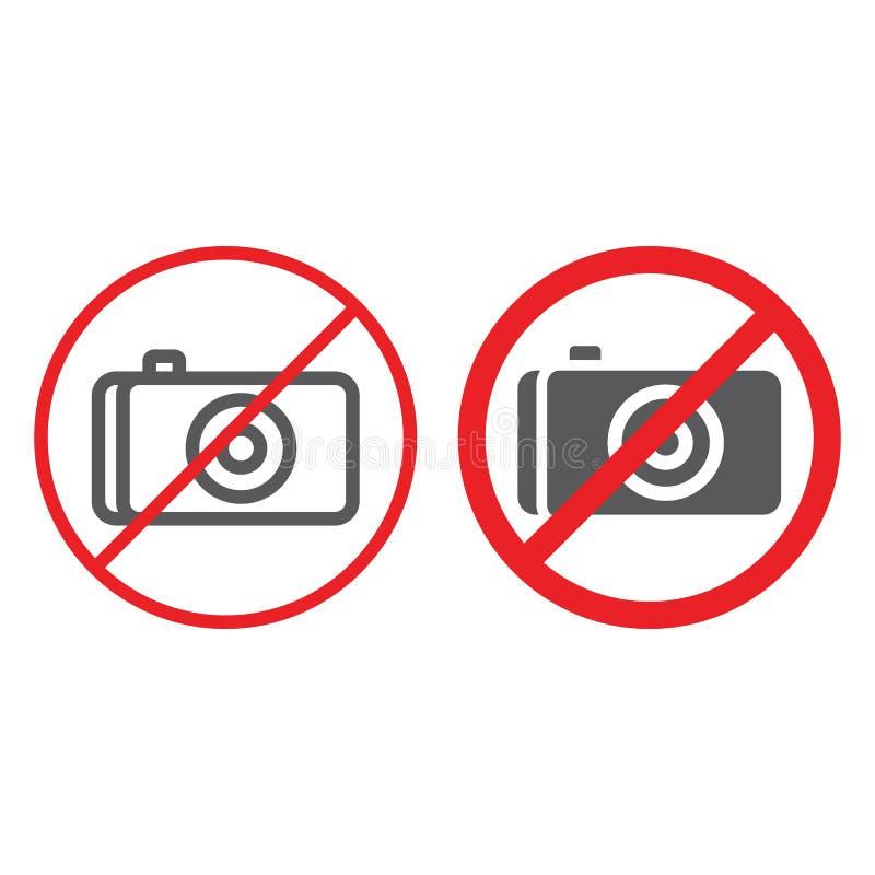 Nessuna linea della foto ed icona di glifo, proibita e divieto, nessun segno della macchina fotografica, grafica vettoriale, un m royalty illustrazione gratis