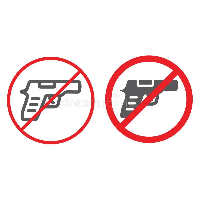 Nessuna linea della pistola ed icona di glifo, proibita e restrizione, nessun segno dell'arma, grafica vettoriale, un modello lin illustrazione vettoriale