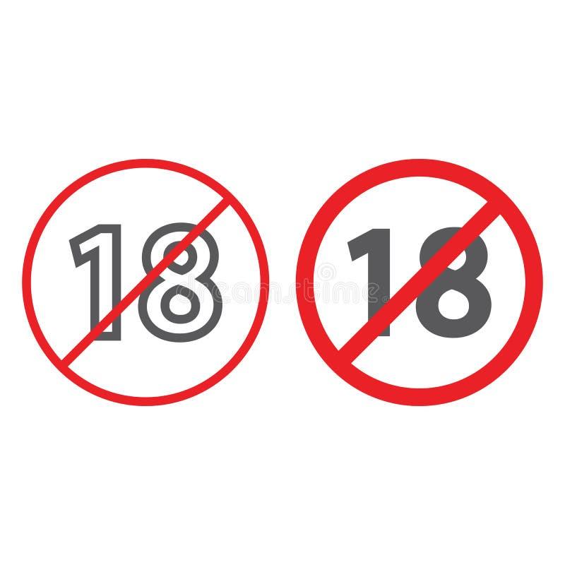 Nessuna linea 18 ed icona più di glifo, proibita e divieto, segno di restrizione di età, grafica vettoriale, un modello lineare s illustrazione di stock