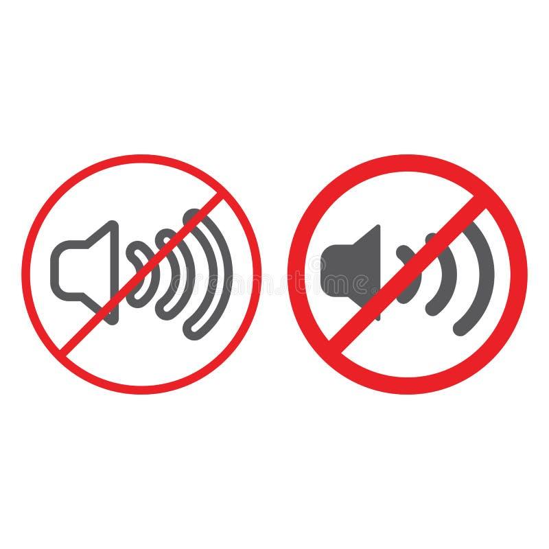 Nessuna linea ed icona sana di glifo, proibita e silenzio, nessun segno di rumore, grafica vettoriale, un modello lineare su un b illustrazione di stock