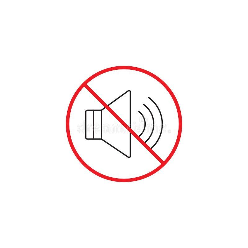 Nessuna linea icona di rumore, nessun rosso sano ha proibito il segno royalty illustrazione gratis