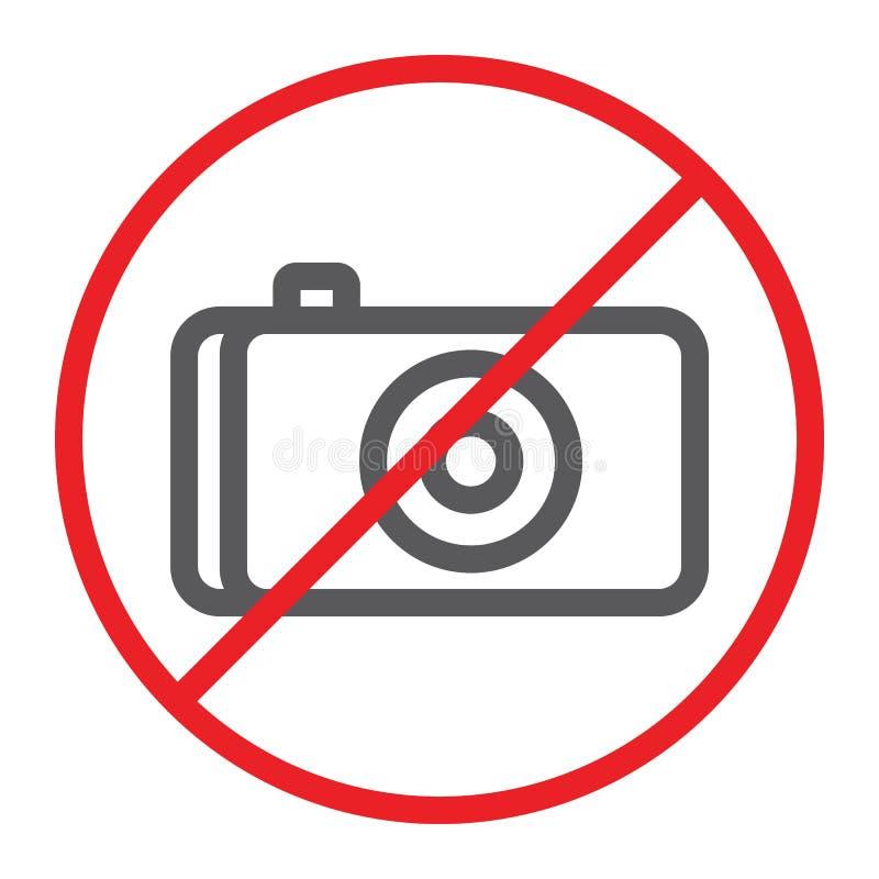 Nessuna linea icona, proibita e divieto della foto, nessun segno della macchina fotografica, grafica vettoriale, un modello linea royalty illustrazione gratis