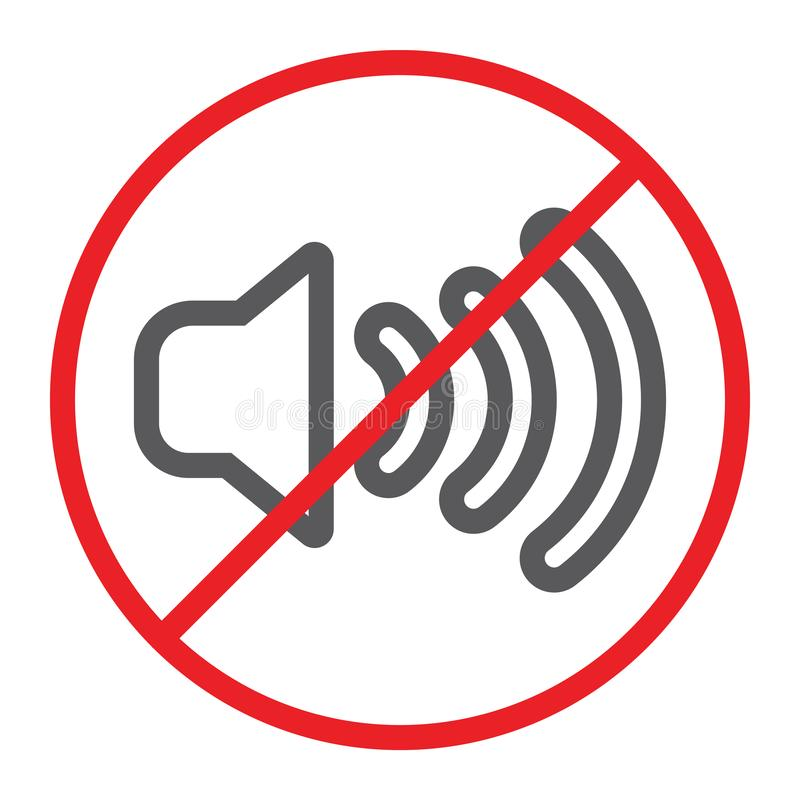 Nessuna linea sana icona, proibita e silenzio, nessun segno di rumore, grafica vettoriale, un modello lineare su un fondo bianco royalty illustrazione gratis