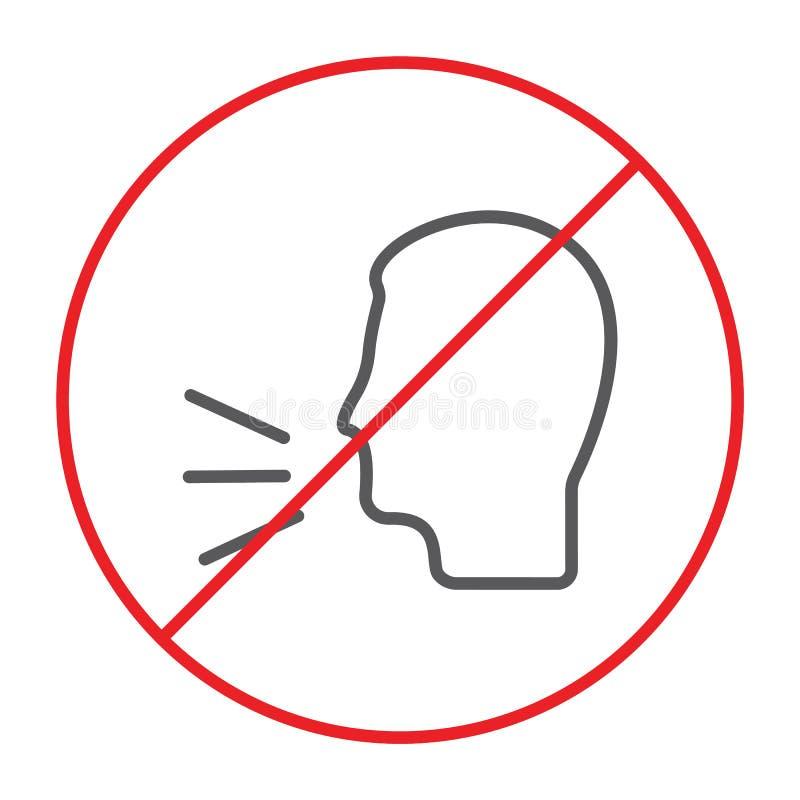 Nessuna linea sottile di conversazione icona, proibita ed avvertente, non parla il segno, la grafica vettoriale, un modello linea illustrazione vettoriale