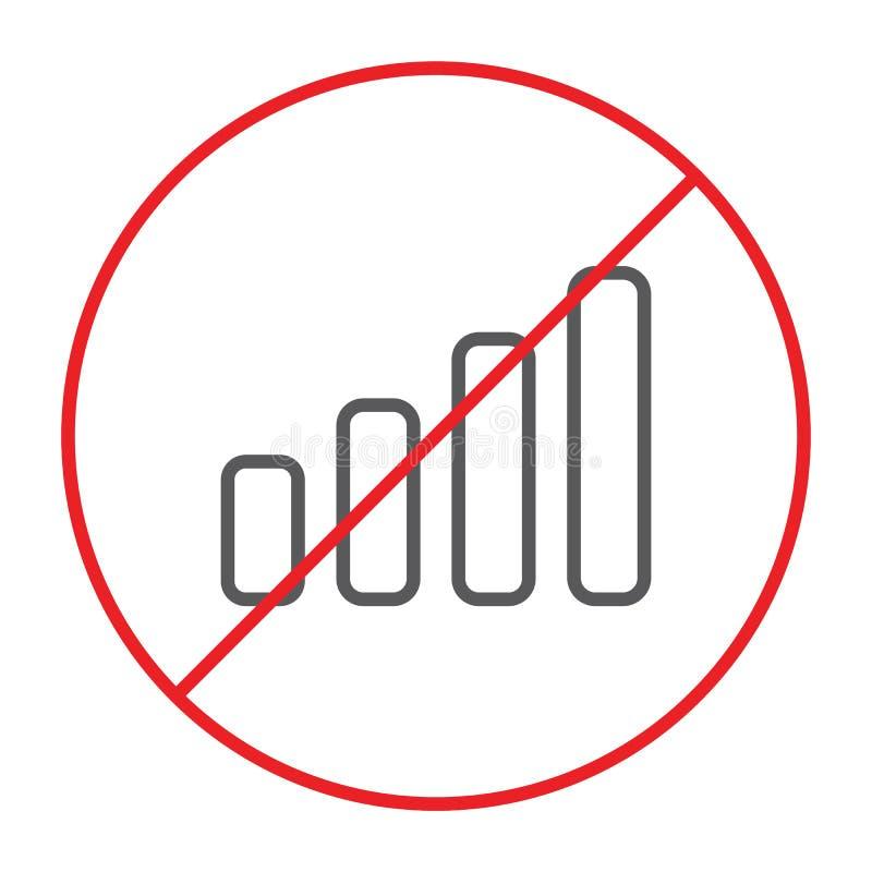 Nessuna linea sottile icona, proibita e divieto del segnale, nessun segno del collegamento, grafica vettoriale, un modello linear illustrazione di stock
