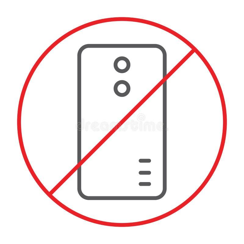 Nessuna linea sottile icona, proibita e divieto del telefono, nessun segnale di chiamata, grafica vettoriale, un modello lineare  illustrazione di stock