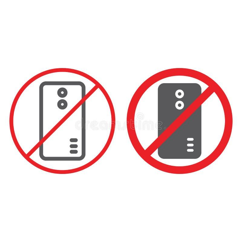 Nessuna linea telefonica ed icona di glifo, proibita e divieto, nessun segnale di chiamata, grafica vettoriale, un modello linear illustrazione vettoriale