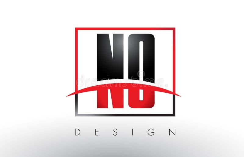 NESSUNA N O Logo Letters con i colori rossi e neri e mormora illustrazione di stock