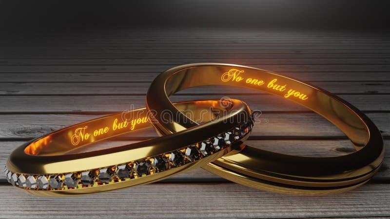 Nessuno ma voi - le parole calde e d'ardori due interni hanno legato gli anelli dorati per simbolizzare il legame eterno del matr illustrazione vettoriale