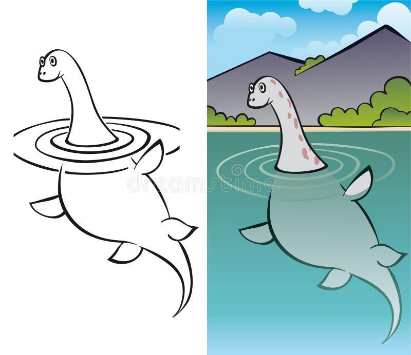 nessy gigantisk ness för fjord stock illustrationer