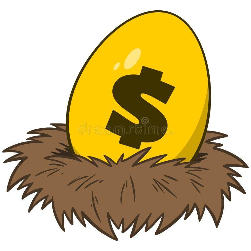 Nest Egg with Gold Egg stock illustration