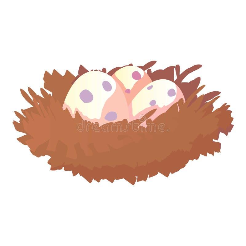 Nest with eggs icon, cartoon style stock illustration