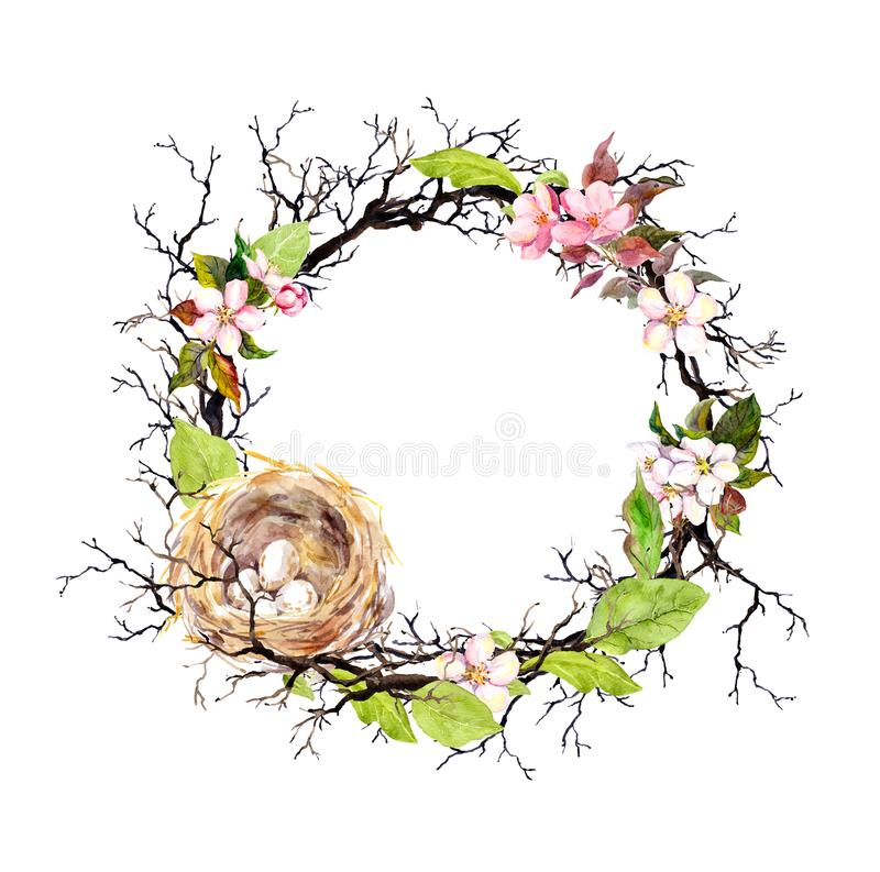 Nest with eggs, spring blossom flowers, branches and green leaves. Floral wreath for Easter. Watercolor circle border vector illustration