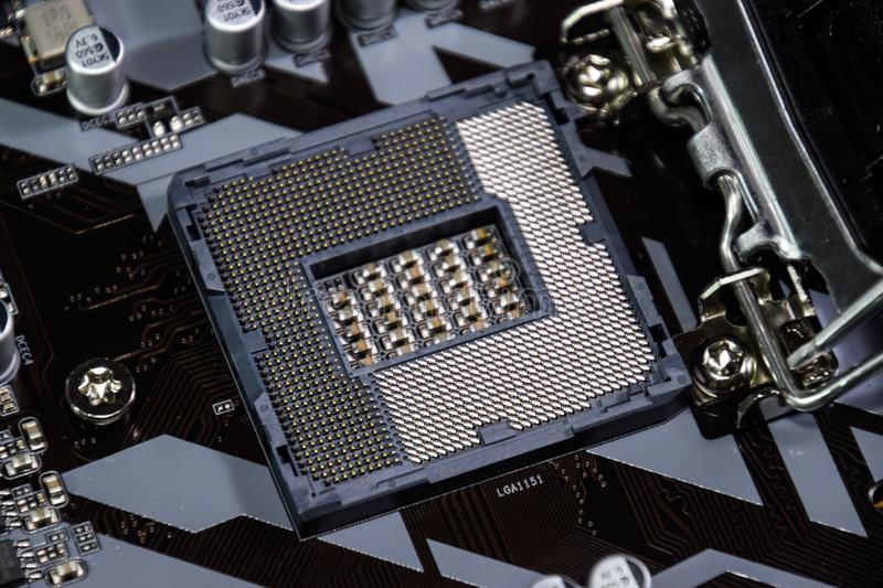 A nest for the Intel processor in the motherboard. royalty free stock image
