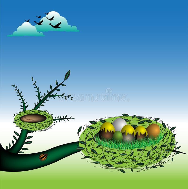 Nest met eieren vector illustratie