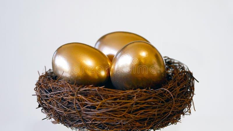 Nest mit goldenen Eiern stockfotos