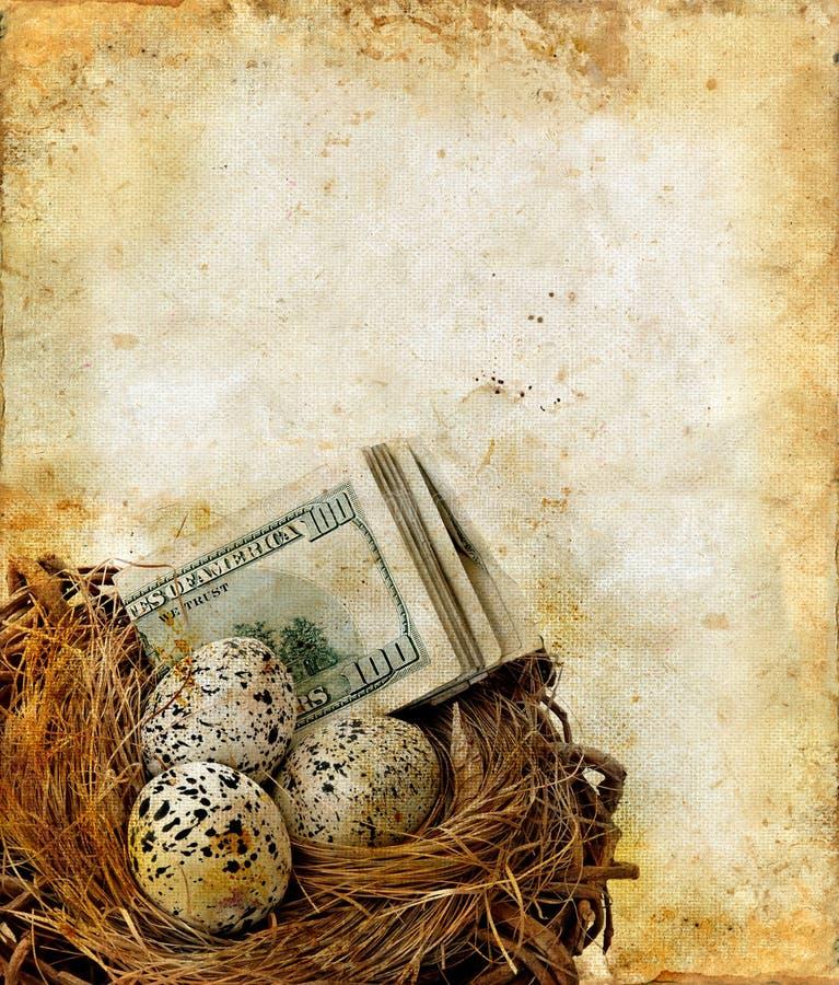Nest with Money on a Grunge Background royalty free illustration