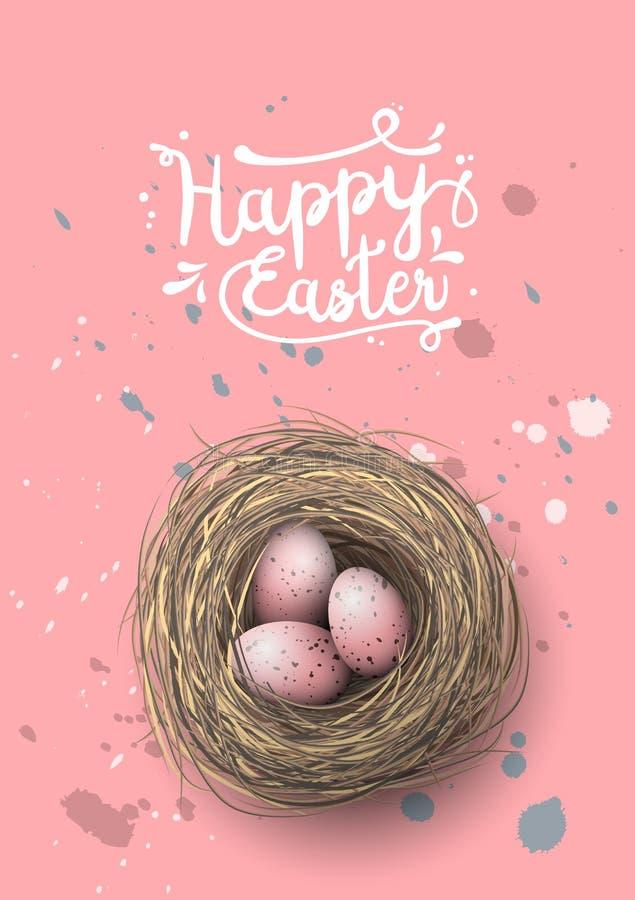 Nest with pink eggs on pink background, illustration stock illustration