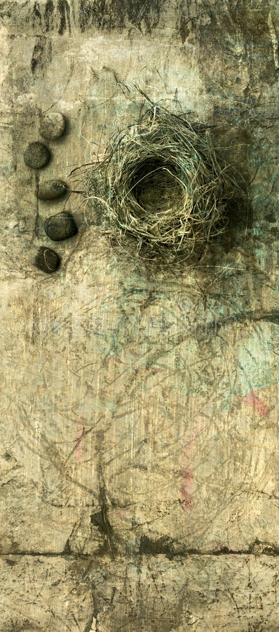 Nest and Stones. A birds nest with some small river stones photo based illustration royalty free illustration