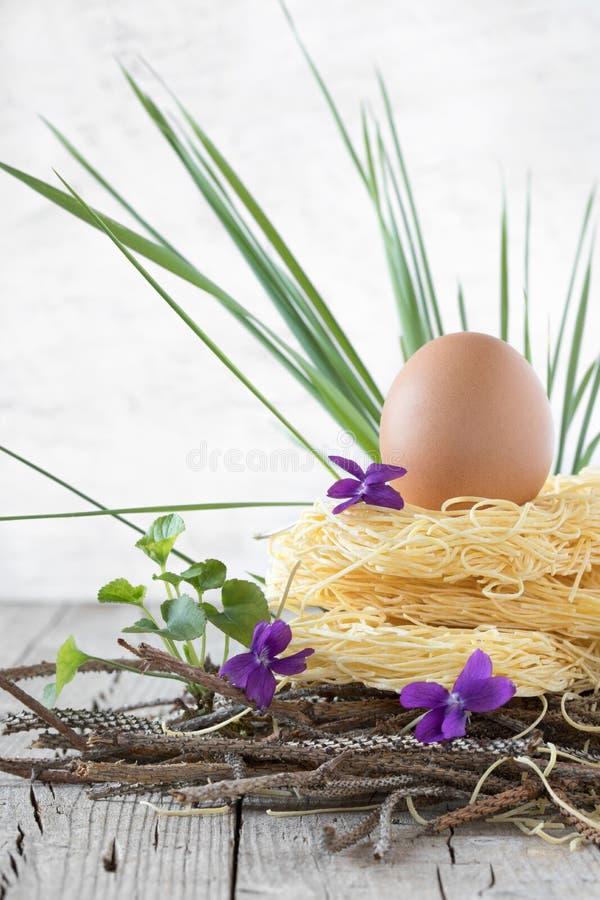Nest van Ruwe Deegwaren met Ei royalty-vrije stock afbeelding