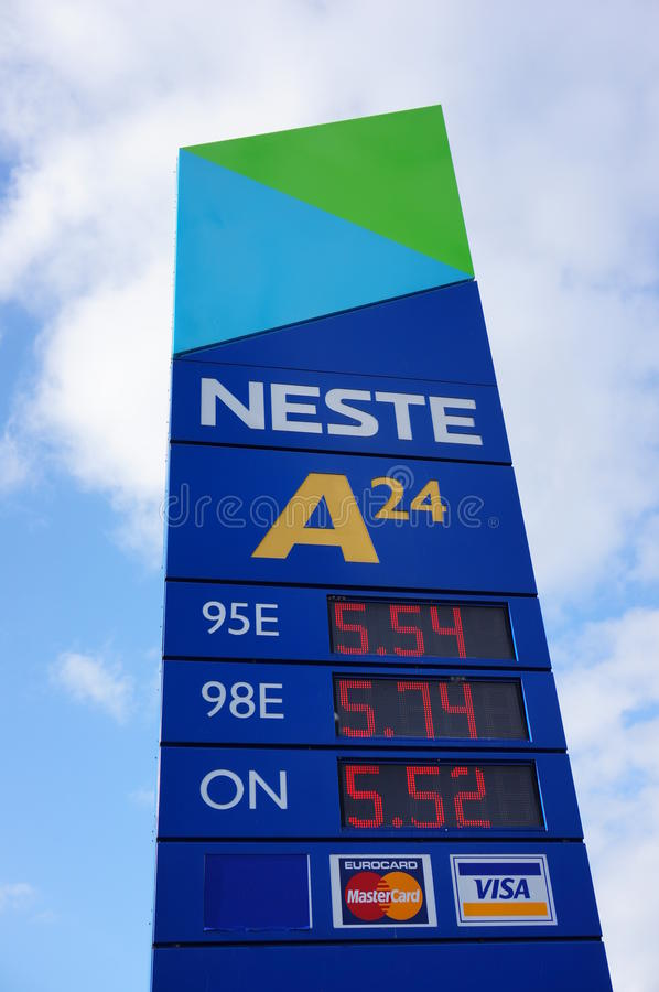 Neste filling station sign. Sign of the Neste filling station showing the prices in Poznan, Poland royalty free stock photography