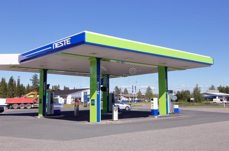Neste gas station. Tornio, Finland - July 20, 2016: Neste unmanned gasoline service station stock images