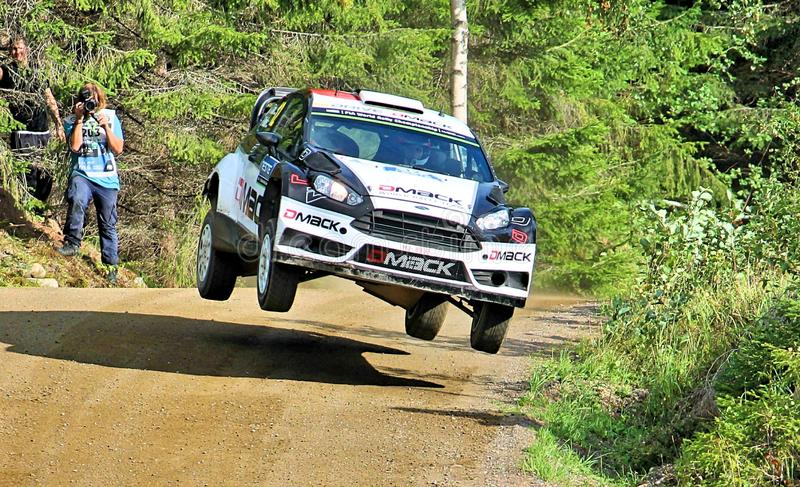 Neste Rally Finland. High speed rally in Finland. Fast cars on fast gravel roads, in Jyväskylä, tough competition among drivers stock photos