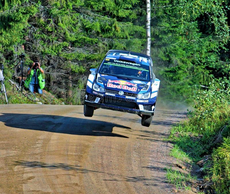 Neste Rally Finland. High speed rally in Finland. Fast cars on fast gravel roads, in Jyväskylä, tough competition among drivers royalty free stock image