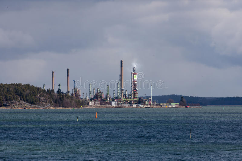 Neste Refinery. Seen from Luonnonmaa in Naantali, Finland stock photography