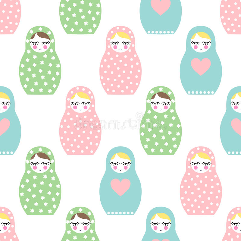 Free Nested Doll Seamless Pattern. Cute Wooden Russian Doll - Matrioshka Royalty Free Stock Images - 65104809