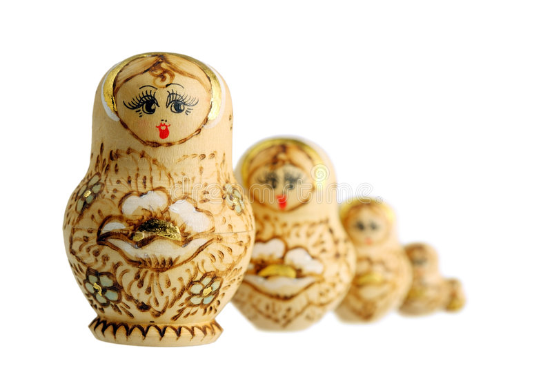 Nested dolls. Russian nested dolls, also known as matryoshka , are used metaphorically, as a design paradigm, known as the matryoshka principle or nested doll stock images
