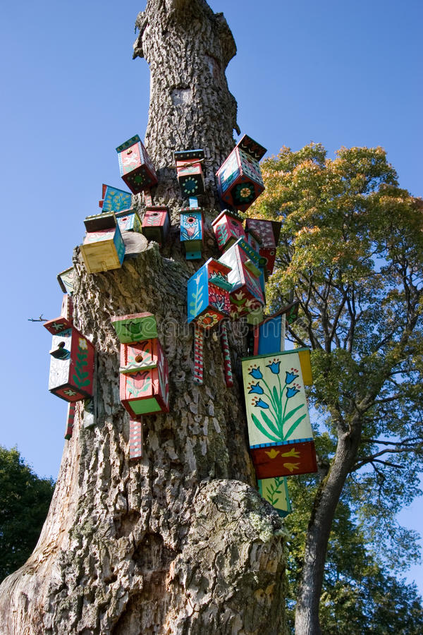 Nesting-boxes on the tree. In the park of Verkiai palace, Vilnius, Lithuania royalty free stock photo