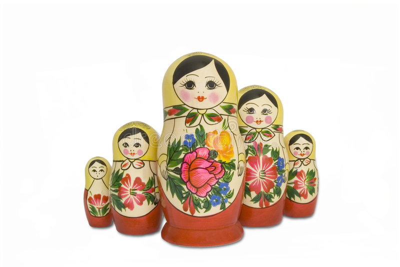 Nesting dolls. A set of five nesting dolls stock photo