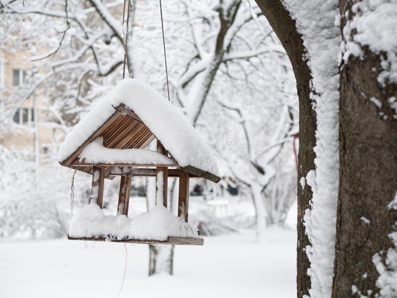 Nestkastje het hangen op boomtak met sneeuw wordt behandeld die stock foto