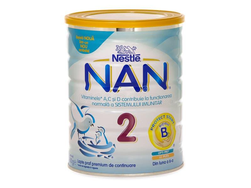 Nestle Nan 2, formule complémentaire de lait pour des bébés après 6 mois image stock