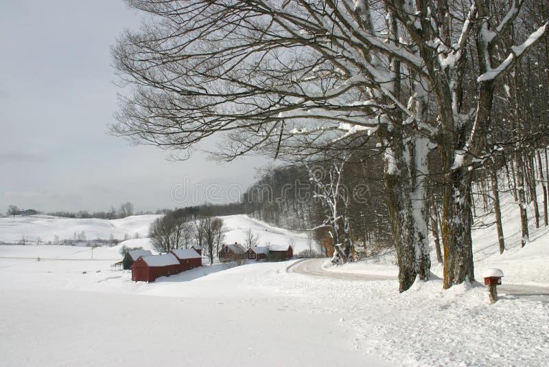 Nestled het sneeuw behandelde landbouwbedrijf in de heuvels van Vermont stock afbeeldingen