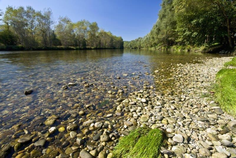 Nestos river at Thrace, Greece. Near Xanthi city and Rodopi ridge stock photography
