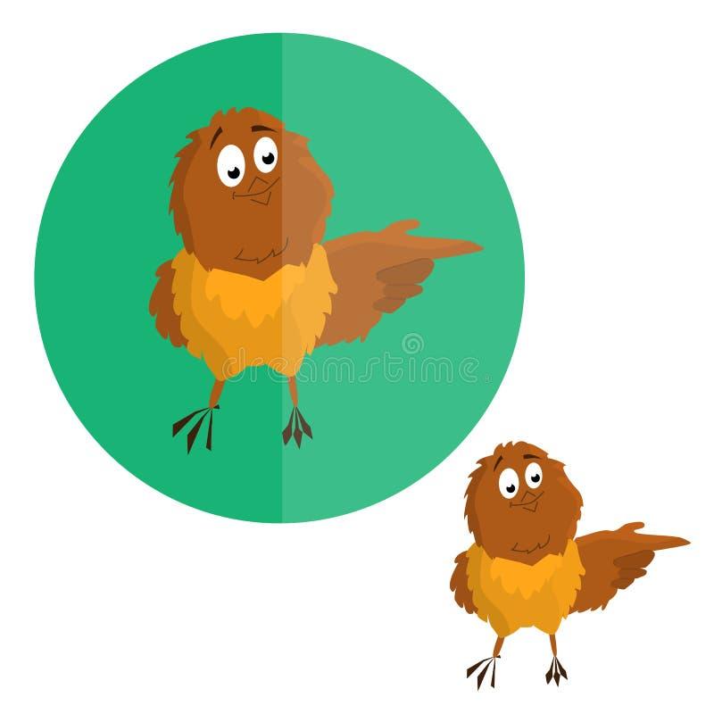 Nestvogel, mus die richting richten Beeldverhaalgrafiek Vecor royalty-vrije illustratie