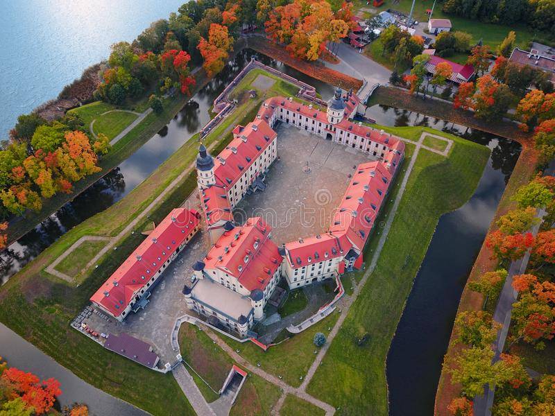 Nesvizh Castle, Belarus, Europe. Aerial view. Of famous belarusian medieval castle. Historic building in autumn. Symbol of belorussian architecture. Cityscape royalty free stock images