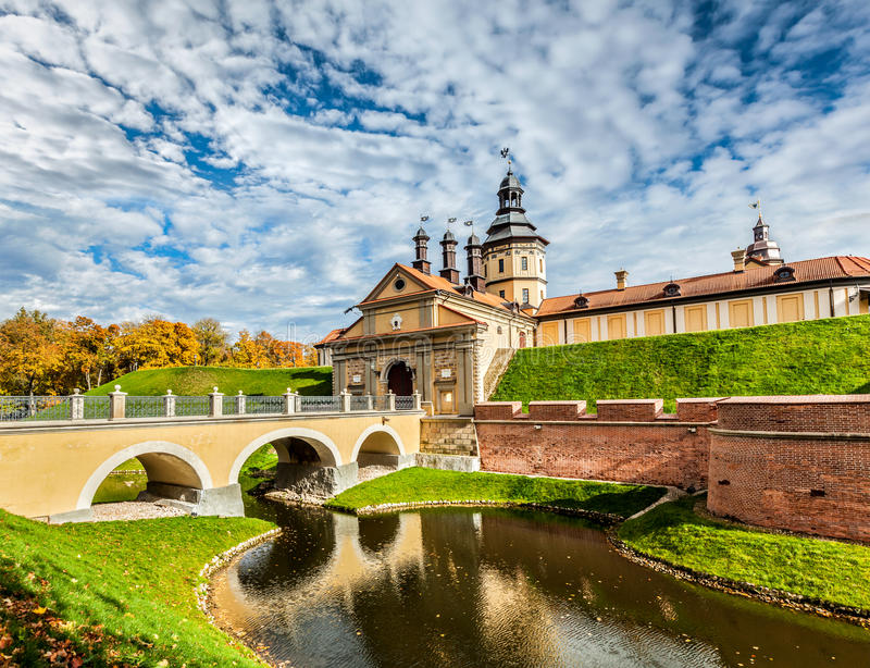 Nesvizh Castle - medieval castle in Belarus. Belarusian tourist landmark attraction Nesvizh Castle - medieval castle in Nesvizh, Belarus royalty free stock photography