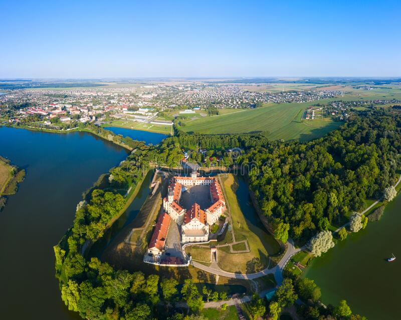 Nesvizh Castle is a residential castle of the Radziwill family in Nesvizh, Belarus, beautiful view in the summer against stock photo
