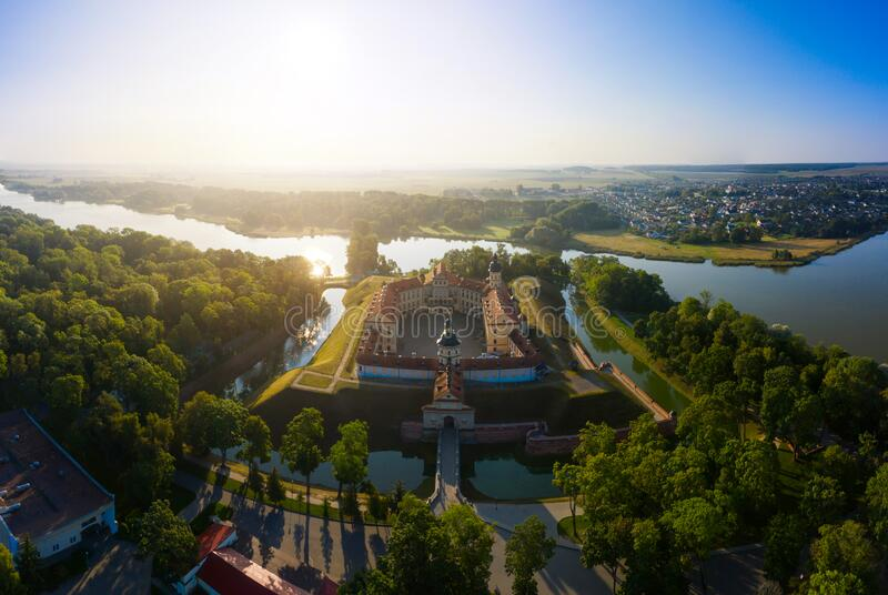 Nesvizh Castle is a residential castle of the Radziwill family in Nesvizh, Belarus, beautiful view in the summer against royalty free stock photography